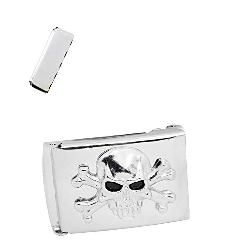 Skull and Crossbones on Silver Military Flip Top Buckle 1.25 Width ()