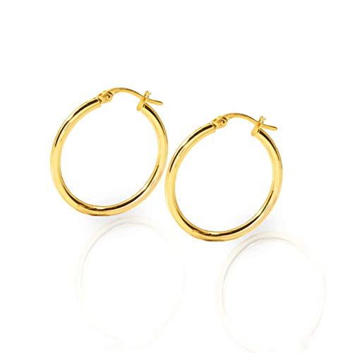 (LoveBling 10k Yellow Gold Plain Round Hoop Earrings 23mm diameter 2mm thick)