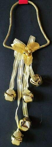 The Pecan Man Christmas Holiday Jingle Bell Door Knob Hangers Gold Bell 1 pc