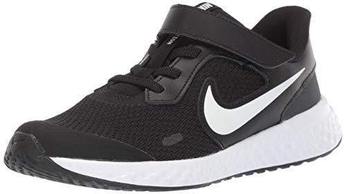 Nike Unisex-Kid's Revolution 5 Pre School Velcro Running Shoe, Black/White-Anthracite, 12C Regular US Little Kid