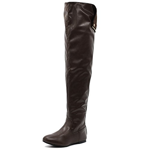 Women up Boots Zip Shoe Collar Knee Back The Brown Riding Ollio Button Over Long pIxd7qdt