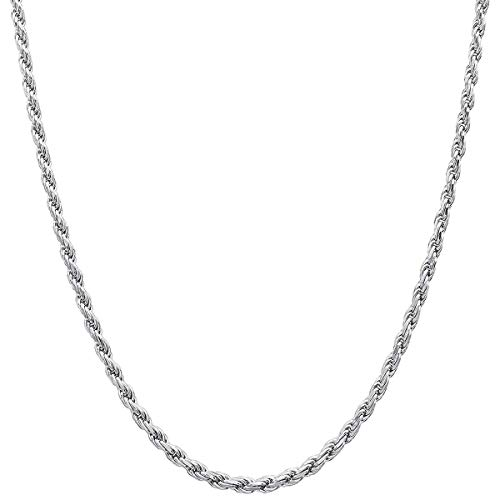 (14K White Solid Gold Italian Diamond Cut 2.0mm Rope Chain Necklace Strong Lobster Claw Clasp(14, 16, 18, 20, 22, 24 or 30 inch) With 1