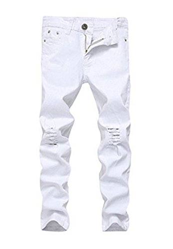 OBT Boy's White Stretch Skinny Fit Ripped Destroyed Distressed Fashion Slim Denim Jeans 10