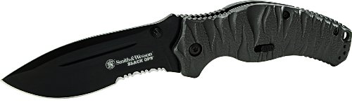 Smith and Wesson SWBLOP4BS Black Ops 4 M.A.G.I.C. Assist Liner Lock Black 4034 Stainless Steel, Outdoor Stuffs