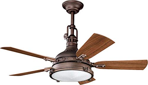 Kichler 310101WCP Patio 44-Inch Hatteras Bay Patio Fan, Weathered Copper Powder Coat