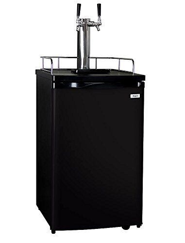 Kegco K199B-2P Kegerator Two Keg Beer Cooler - Premium Double Faucet D System Kit - Black Door