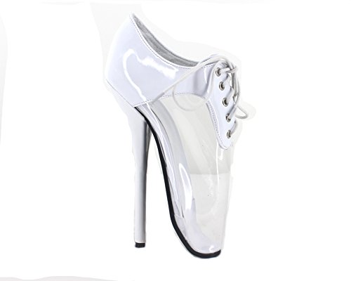 7stilleto Di Pattini Fetish Balletto Bianco Lucido Tacco Balletto Stivali Sexy rrOvq