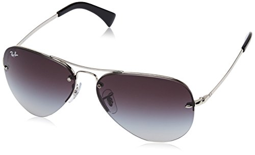 Ray-Ban RB3449 Aviator Sunglasses, Silver/Gray Gradient, 59 mm