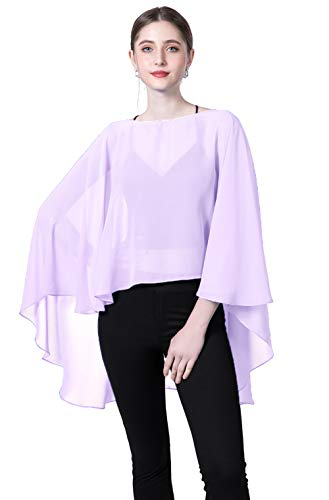 Chiffon Capes Sheer Capelets Bridal Shawls And Wraps Cape Long Plus Size Poncho Cape For Women (Lavender)