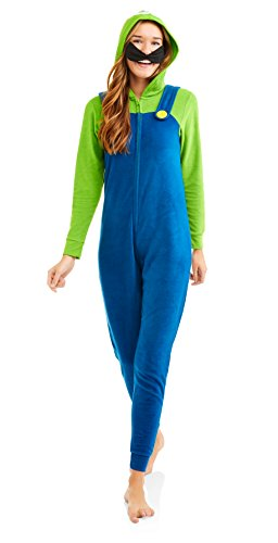 Super Mario Women's Faux Fur Licensed Sleepwear Adult Costume Union Suit Pajama (S, Luigi)