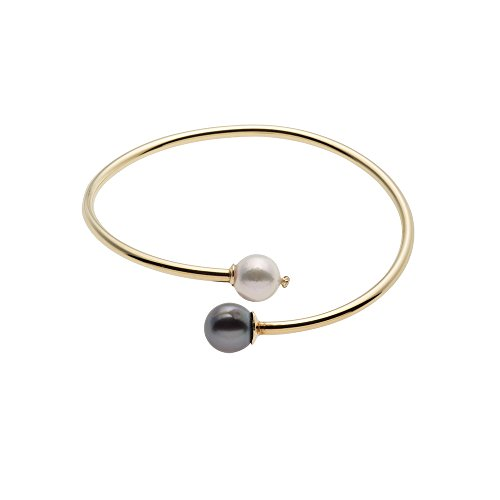 Sterling Silver Gold Plated Bangle Bracelet with Akoya & Tahitian Cultured Pearl (Sterling Silver Tahitian Pearl Bracelet)
