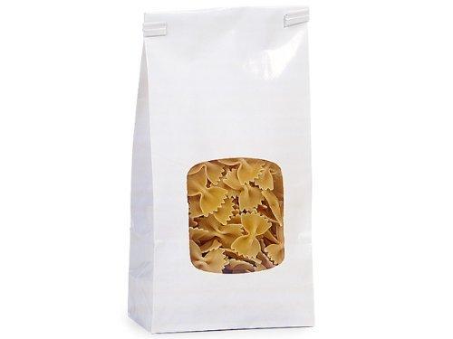 White 1 Lb. Tin Tie Bakery Bag w/ Square Window - 50 Pack