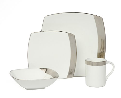 Mikasa Ridge Square 16-Piece Dinnerware Set, Service for (Mikasa Square Plate)