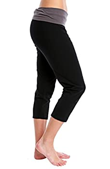 Nouveau Women's Workout Active Capri Yoga Pant With Contrasting Color Waistband Casual Loungewear - Black W. Charcoal, Xx-large 1