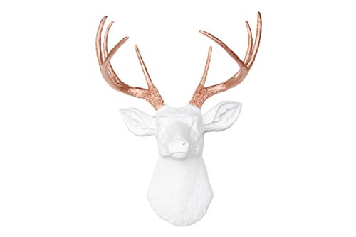 Near and Deer Faux Taxidermy 8 Pt. Deer Head Wall Mount, White/Rose Gold (Stud Head Pt 12)
