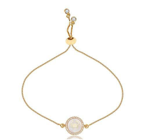 CILILI Horoscope Zodiac 12 Constellation Shell Rhinestones Charm Snake Chain Bracelet for Girls Women (Cancer)