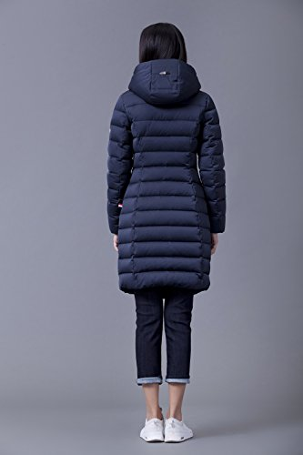 YY-Rui Damen Daunenjacke Lang Mantel Daunenmantel Steppmantel Wintermantel Daunenjacke mit Kapuze Slim Fit Steppjacke Dunkelblau