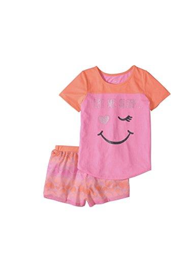Wonder Nation Girls Graphic Short Sleeve Top and Shorts 2-Piece Pajamas, Unicorn, Cat, Dog, Mermaid Styles (Medium (7/8), Let Me Sleep) -