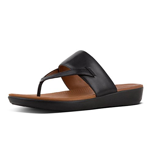 FitFlop New Women's Delta Toe Thong Sandal Black 9 - Delta Leather