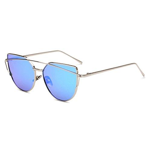 Dormery Women Cat Eye Sunglasses Fashion Flat Panel Twin-Beams Frame Sunglass Female Mirror Rose Gold Lens Sun Glasses C11 (Cat C11)