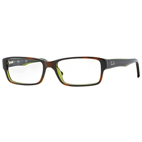 Ray-Ban RX5169 Rectangular Eyeglass Frames, Tortoise On Green Transparent/Demo Lens, 52 mm