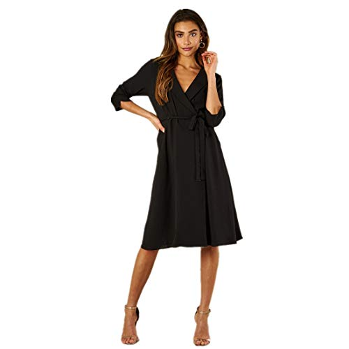 LINSIS Women's V-Neck Midi Dress 3/4 Sleeve Cocktail Party Swing A-Line Dresses with Belt S ()