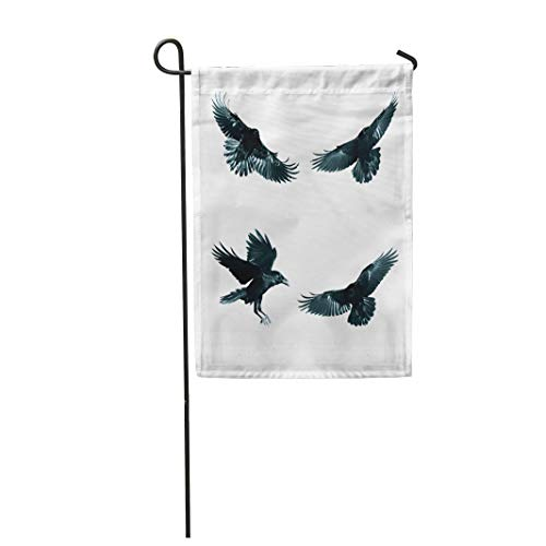Semtomn Garden Flag 12x18 Inches Print On Two Side Polyester Crow Birds Mix Flying Common Ravens Corvus Corax White Halloween Four Black Air Home Yard Farm Fade Resistant Outdoor House Decor Flag