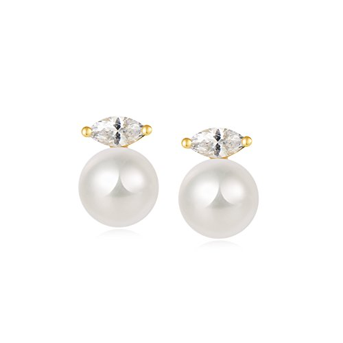 Carleen 18K Yellow Gold Plated 925 Sterling Silver Marquise Cut CZ Cubic Zirconia Single 7mm Round Freshwater Pearl Dainty Stud Earrings for Women Girls (Marquise Stud Zirconia Cubic)