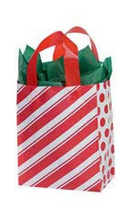 (Sprinkles Gifts 25 Medium Peppermint Stripes Christmas Gift Wrap Wrapping Plastic Bags 8