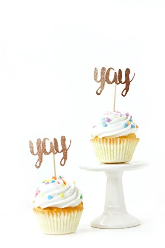 24pc. Yay Script Rose Gold Glitter Cupcake Toothpick Toppers