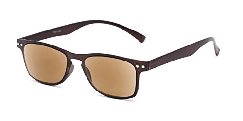 Readers.com Sun Reader: The Declan Flexible Reading Sunglasses Plastic Retro Square Style for Men and Women - Brown with Amber, ()