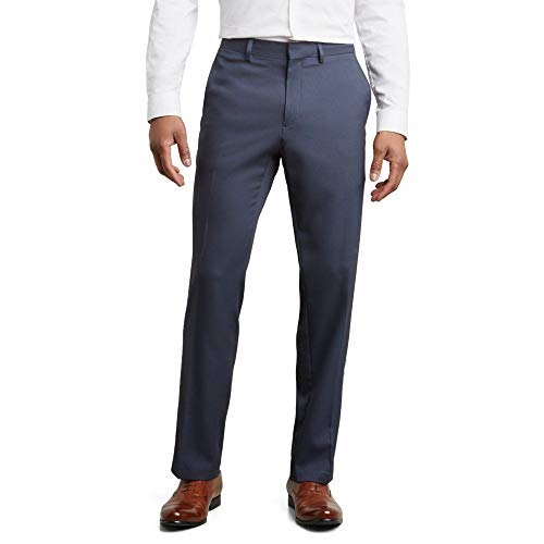 (Kenneth Cole REACTION Men's Stretch Modern-Fit Flat-Front Pant, Navy,)