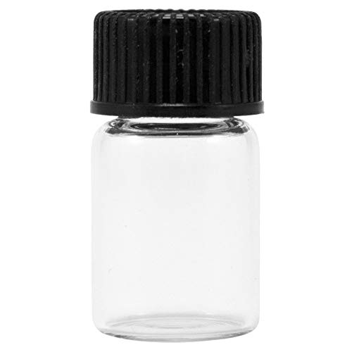 CASE of 144 Glass VIALS - 1/2 DRAM (1/16 OZ.) Clear with Screw CAPS!! Clear Glass Screw Cap