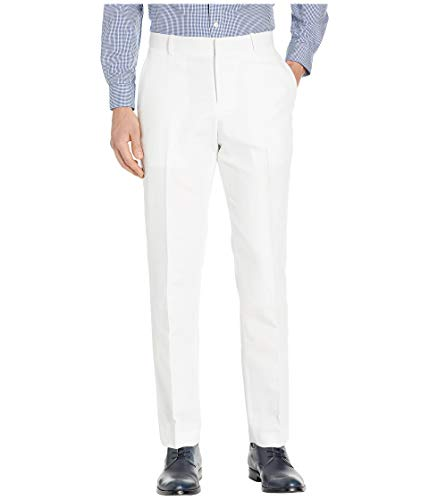 Perry Ellis Men's Portfolio Modern Fit Linen Blend Pants, Bright White, -