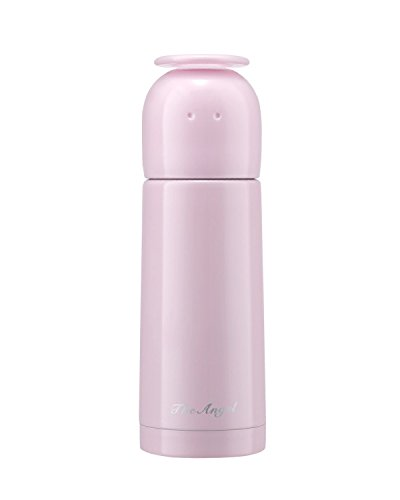 Landrind Portable Thermos Travel Mug Cute Design Vacuum Insulated Stainless Steel Thermos Water Bottle, Mini Size Coffee Thermos and Vacuum Flask (350 mL, The Angel, Pink)