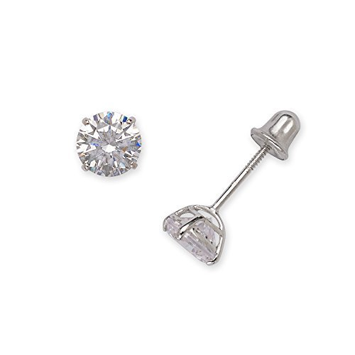 (14k White Gold Solitaire Round Cubic Zirconia CZ Stud Screw-back Earrings (2mm-7mm))