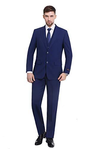 P&L Men's 3-Piece Dress Suit Modern Fit Two Button Tuxedo Blazer Jacket Tux Vest & Pleat Pants Set Cobalt Blue