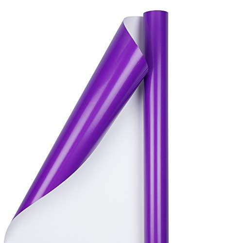 (JAM PAPER Gift Wrap - Glossy Wrapping Paper - 25 Sq Ft - Purple - Roll Sold Individually)