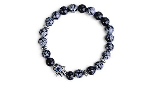 SGS International Rhodium Plated Genuine Snow Flake Obsidian Hamsa Stretch Bracelet - Natural Healing Stones