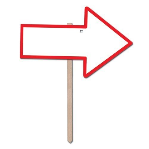 [Blank Arrow Yard Sign (blank w/red border) Party Accessory  (1 count)] (Hollywood Themed Costumes Women)