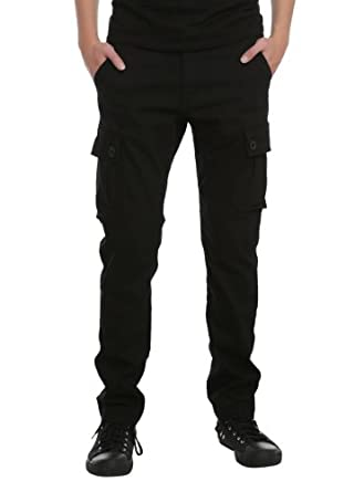 RUDE Black Slim Fit Cargo Pants Size : 32 at Amazon Men's Clothing ...
