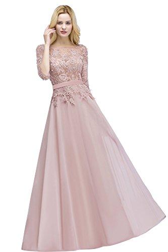 4 Arm 46 3 32 Lang Perlstickerei Tüll Damen Rosa Ballkleid Abi EU Brautjungfernkleid Abendkleid Elegant q1wXpIf