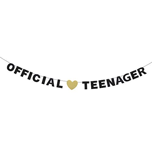 (Official Teenager 13 Birthday Banner - Black Glitter Letters Décor - Sign Boys Girls 13th Birthday Ceremony - Thirteen Years Old Birthday Theme Party)