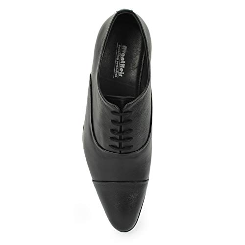 AvantHier Stylish Glossy Black Genuine Leather Formal Shoes for Men/Boys