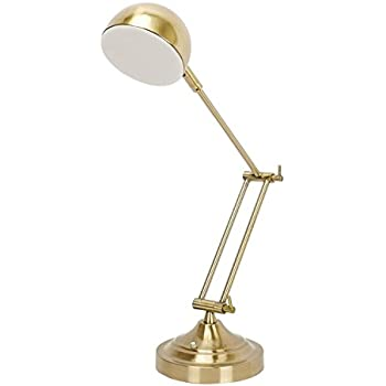 Sunllipe led desk lamp 7w touch control dimmable swing arm table reading lamp with rotatable head antique brass finish