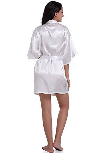 Camicia Vestaglia Corta da Camice Raso Vestaglia con in Raso Cintura Elegante Scollo da Pigiama Donna cintura Kimono notte V Hammia con White Notte wpUITqt
