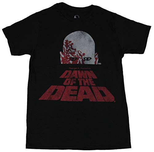 Dawn Of The Dead Mens T-Shirt - Distressed Zombie Over Name Logo (Medium) ()