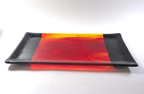 - Large Fused Glass Platter in Red and Black