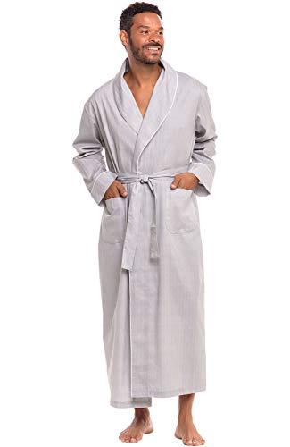 Alexander Del Rossa Men's Lightweight Cotton Robe, Woven Kimono, Small Grey Striped (A0715R61SM)