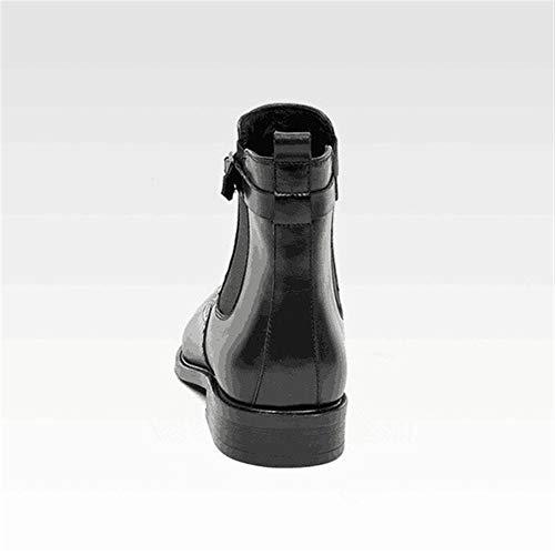 Rui Landed Chelsea Beiläufiger Reitstiefel im Überziehstil for Herren Hoher Stiefel Mönchsriemen Hochwertiges echtes Leder, das elastische Schnur mit rundem Zehenblockabsatz schnitzt Nachtclub